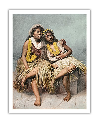 - Hawaiian Beauties - Two Native Hawaiian Girls in Grass Skirts and Flower Leis - Vintage Hawaiian Color Postcard c.1880s - Hawaiian Fine Art Print - 11in x 14in