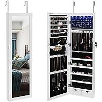 SONGMICS 6 LEDs Jewelry Cabinet Lockable Wall Door...