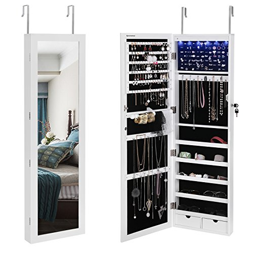 SONGMICS 6 LEDs Jewelry Cabinet Lockable Wall Door Mounted Jewelry Armoire Organizer with Mirror 2 Drawers White UJJC93W (Hanging Wall Door)