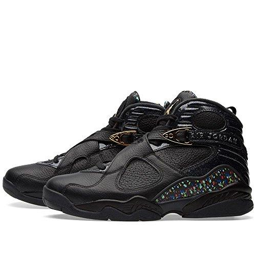 Nike Herren Air Jordan 8 Retro C & C Schwarz / Metallic Gold Leder