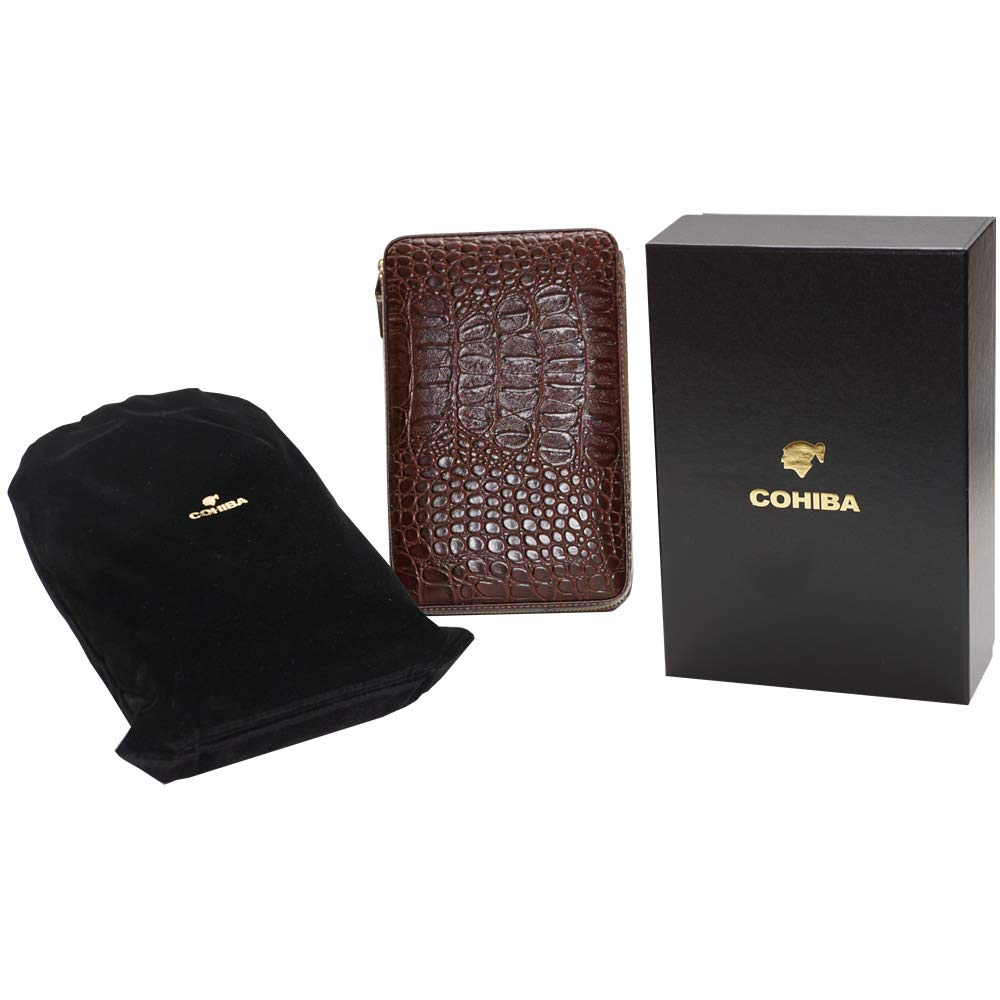 Coh Leather Travel Case with Cutter and Lighter - 4 Cigars - Including Humidification Kit - Color: Brown by H&H (Image #3)