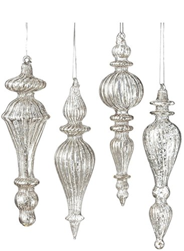 Sullivans OR4676 Assorted Glass Drop Ornament 3 Sets of 4 (12 Ornaments), 6.5