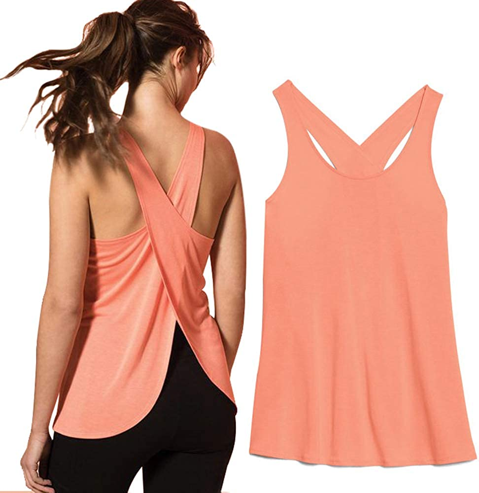 2 Packs Loose Fit Women Sleeveless Yoga Shirts Cross Cut Summer Tank Tops