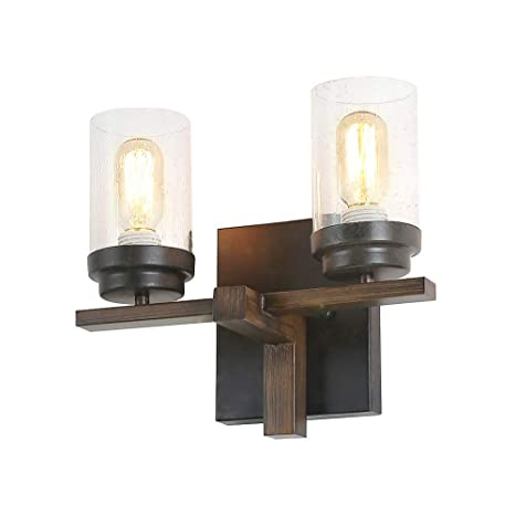 more photos 9a539 9875a Eumyviv Rustic Style Bathroom Lighting Metal Wall Sconce with Seeded Glass  Shade, Industrial Wall Light Log Cabin Home Retro Edison Sconce Lighting ...