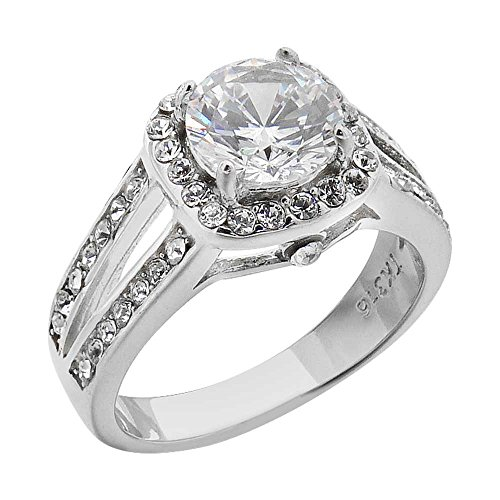 Halo Cubic Zirconia Stainless Steel Engagement Ring Band Women's size 7