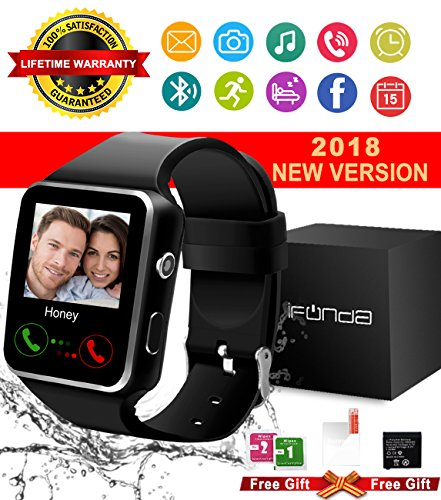 Bluetooth Smart Watch With Camera Touch Screen Smartwatch Unlocked Smart Wrist Watch With Sim Card Slot Fitness Tracker For Android Smartphone Samsung IOS Apple Iphone 7 8 X Sony (black)