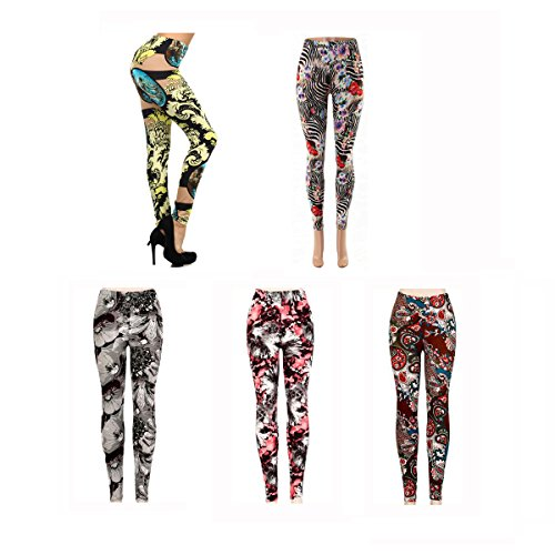 Wholesale-Floral-Leggings-for-Women-Flower-Print-Design-Pattern-5-Pack