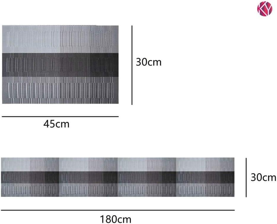 1 Chemin de Table 180 cm Antid/érapant PVC Antid/érapant R/ésistant /à la Chaleur Set de Table avec Chemin de Table Assorti 8STK//Set KYONANO Set de Table et Chemin de Table 7 Sets de Table Gris