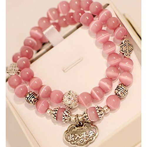 Opal Tourmaline Bracelet - Natural purple pink tourmaline crystal blue sand garnet opal agate beaded bracelet women fashion girls Korean jewelry multilayer