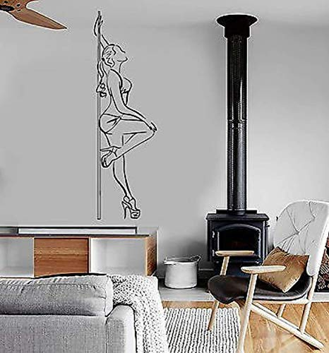 Vinyl Wall Decals Home Decor - Pole Dance Striptease Sexy Woman - Living Room Bedroom Home Art Vinyl Decoration Stickers Mural BT1893 (Pole Dance Wall Decal)