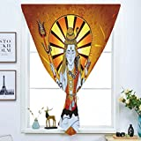Blackout Curtain Free Punching Magic Stickers Window Curtain,Spiritual,Religious Figure on Grunge Backdrop Idol Meditation Boho Holy Print,Amber Orange Light Blue,for Living Room Bedroom, study, kitch