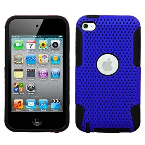 Protective Dual Hard Case and Soft Silicone Skin for Apple iPod Touch 4th Generation (Blue) (Ipod 4th Gen Case Blue)