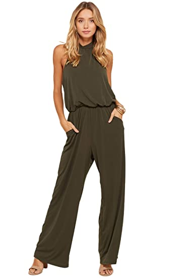b7b462109d82 Amazon.com  Annabelle Women s Solid Halter Neck Sleeveless Pocketed Full  Length Jumpsuit S-3XL  Clothing