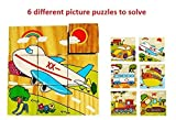 Vibgyor Vibes Early Age 6 in 1 Wood Block Puzzles for small Kids. (Vehicles theme)