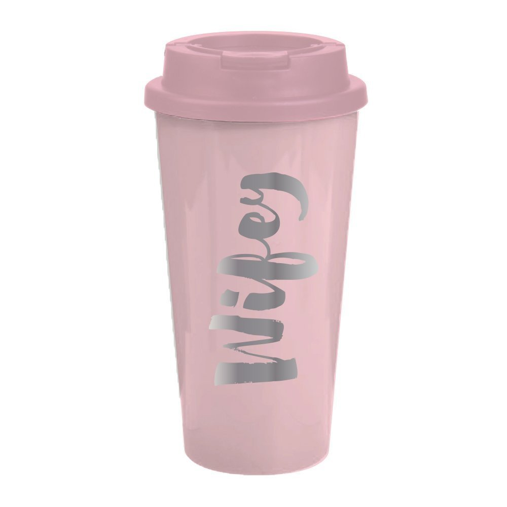 """Wifey"" Travel Mug - 16 oz Light Pink Insulated Travel Mug - Great Gift For Wife, Bride To Be, Engaged or Newlywed"