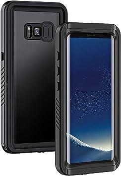 Lanhiem Funda Impermeable Samsung S8, Carcasa Sumergible Resistente Al Agua IP68 Certificado [Protección de 360 Grados], Carcasa para Samsung Galaxy S8 con Protector de Pantalla Incorporado,Negro: Amazon.es: Electrónica