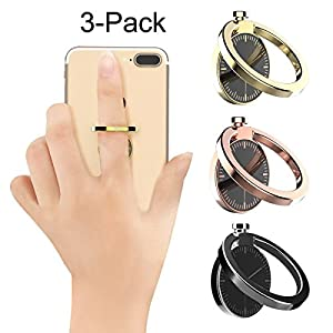 Cell phone holder, Best Share 360 Rotation Universal Metal Smartphone Ring Grip Stand Magnetic Car Mount Holder, Watch-3 Colors/Pack