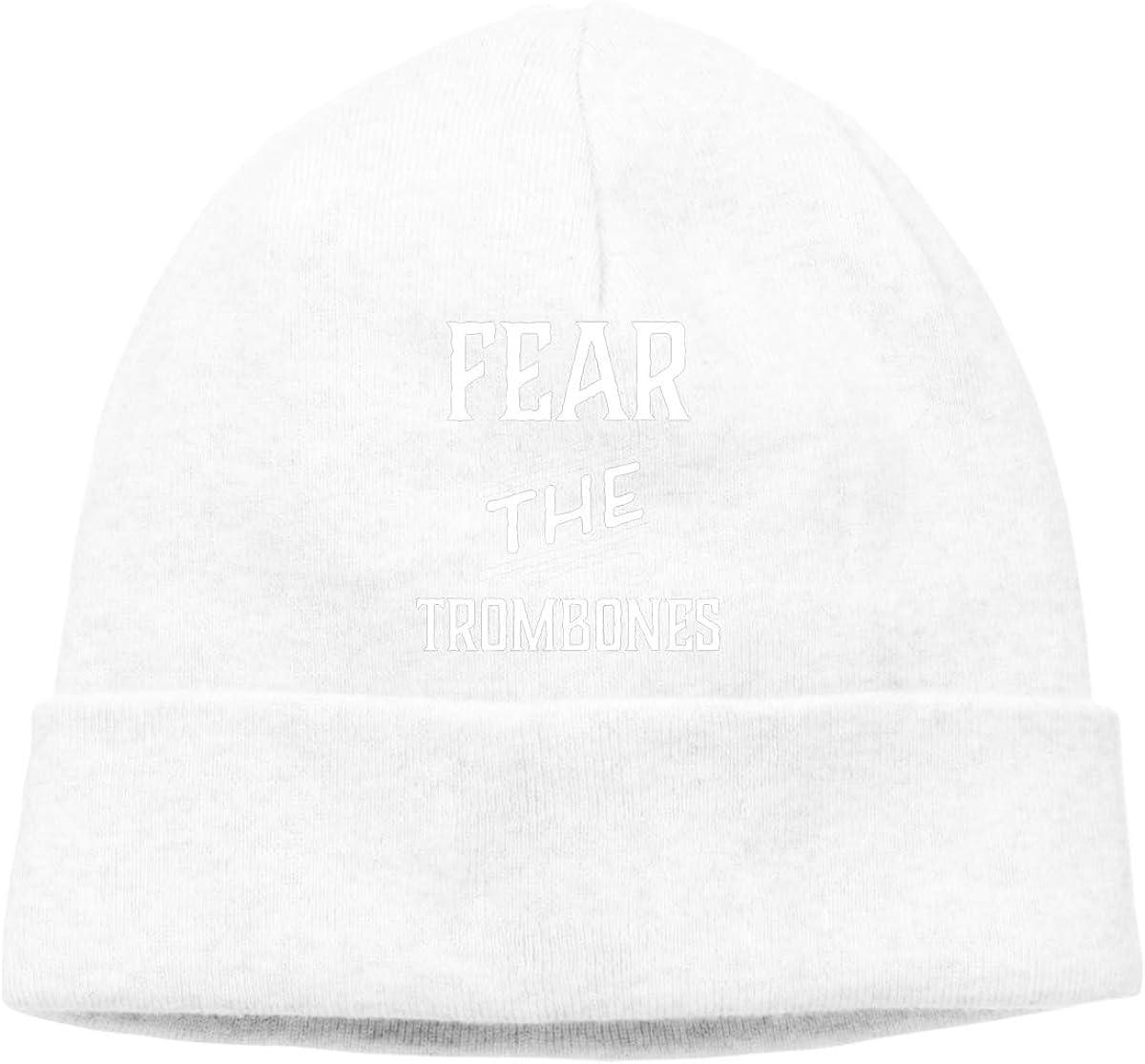 Fear The Trombones Unisex Cuffed Plain Skull Knitted Hat Beanie Cap Men Women Black