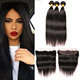 Cheap Mink Brazilian Hair Bundles With Frontal Ear To Ear Closure 13×4 Silky Human Hair Lace Frontal Natural Color Grade 7A Long Straight Virgin Weaves 20 22 24 +18 Inch Frontal