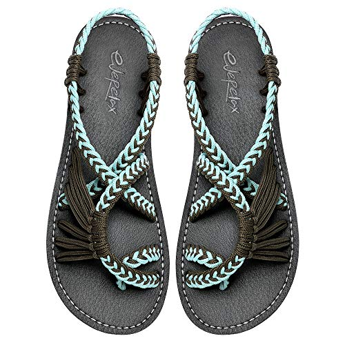 Everelax Women's Flat Sandals Turquoise Grey 7B(M) US