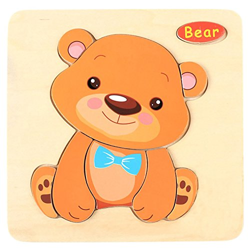 Amaping Wooden Puzzle Sets for Children Age 1-5 Years Old Preschool Jigsaw Puzzles Learning Educational Animal Puzzle Jigsaw Present Baby Kids Cognition Training Toy (Bear)