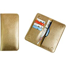 Emartbuy Metallic Gold Premium PU Leather Magnetic Slim Wallet Case Cover Sleeve (Size 4) Suitable for Smartphones/Cellphones Listed Below