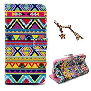 Uming® Retro Colorful Pattern Print Leather case for Motorola MotoX Moto X Triangle Tribe Neon PU Flip Leather Holster with Stand Stander Holder Hand Free Credit Card Slot Wallet Hasp Magnet Magnetic Button Buckle Shell Protective Mobile Cell Phone Case Cover Bag + 1 x Anti Dust Plug - Tribal pattern