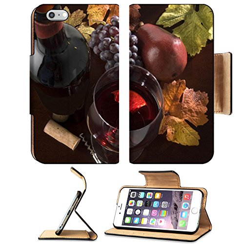 Liili Premium Apple iPhone 6 Plus iPhone 6S Plus Flip Pu Leather Wallet Case IMAGE ID: 2923856 red wine still life with bottle grapes pear cork corkscrew fall colors on wood surface Cabernet Pear