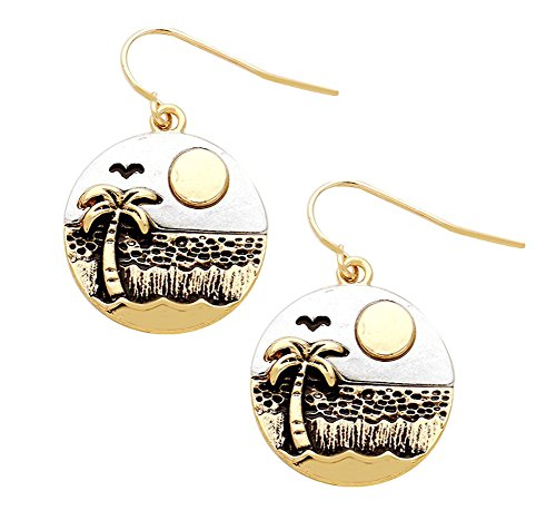 "2-Tone Gold-Tone Silver-Tone Ocean Beach Scene (Sun Palm Tree Seagull Waves) Round Dangle Earrings 3/4"" (Earrings Tropical Tree Palm)"