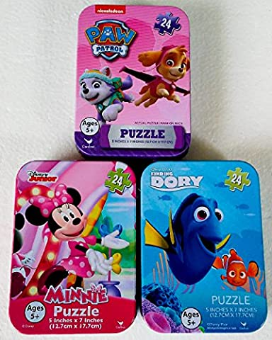 3 Mini Puzzles in Tin Cases Bundle: Finding Dory & Disney Polka Dot Minnie Mouse & Nickelodeon Paw Patrol - 24 Pieces Per - Mini Tin Case