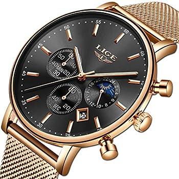 LIGE – Reloj de pulsera para hombre, resistente al agua, de acero inoxidable, analógico, de cuarzo, para hombre, de lujo, con fecha, automática, correa de malla azul Hombres Relojes Relojes de Pulsera Ropa, Zapatos y Joyería