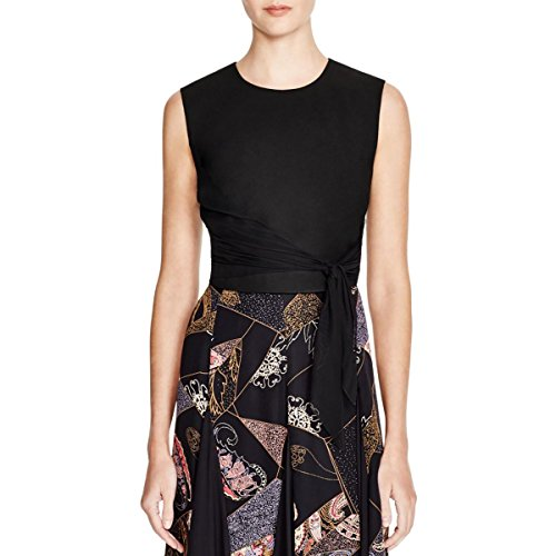 Elizabeth and James Womens Judith Ponte Silk Bow Crop Top Black S by Elizabeth and James