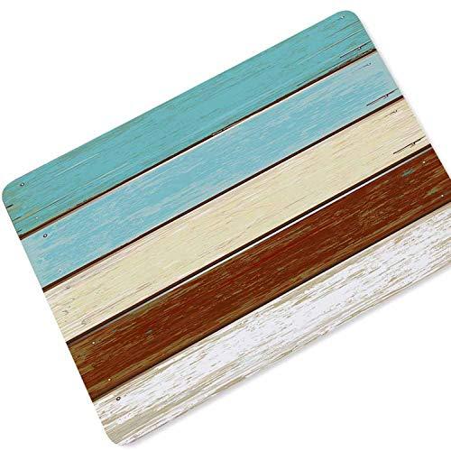 (eu-S1ZS Floor Mat Welcome Doormat Outdoor Decor Absorbent Anti-Slip Bath Mat Entrance Door Mat Wood Pattern Rugs,Blue and White,70x120cm)