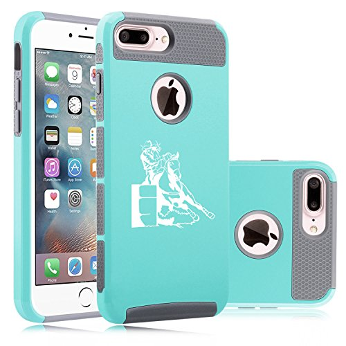 For Apple iPhone (7 Plus) Shockproof Impact Hard Soft Case Cover Female Barrel Racing Cowgirl (Teal-Gray) - Barrel Racing Basics