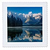 3dRose Danita Delimont - Lakes - Monte Cristallo and the Dolomites reflected in a lake, Belluno, Italy - 25x25 inch quilt square (qs_277560_10)