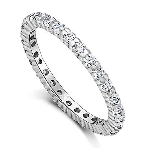 CZ Paved Stackable Eternity Ring Diamond Wedding Band in Silver Size 6 (Pave Stackable Ring)