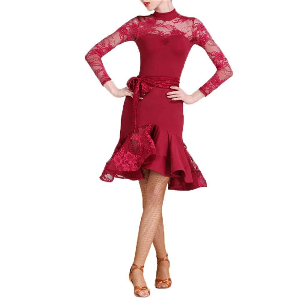 Vin Rouge X-grand Robes de Danse pour Femmes Femmes léopard Imprimer Robe de Danse Latine côté Split Rétro Cheongsam Robe lyrique Salle de Bal Dancewear Moderne Valse Danse Costume Prom Robe de soirée Costume de Danse