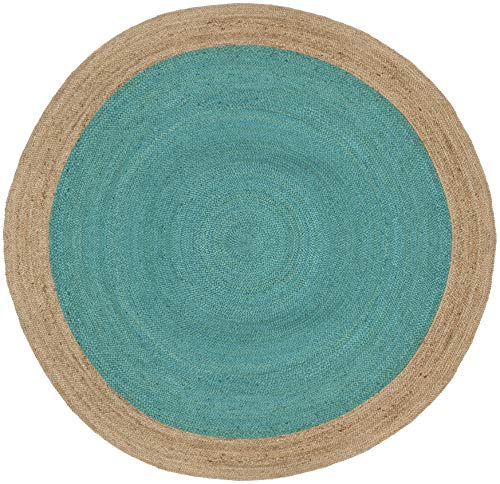 Safavieh Natural Fiber Collection NF801E Hand-Woven Teal and Natural Jute Round Area Rug (8' in Diameter)