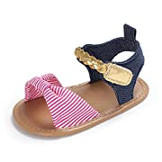 CoKate Baby Toddler Boy Girls Striped Sandals Summer First Walker Shoes (0-6Months, Pink)