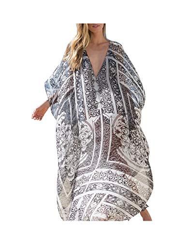 (Buauty Caftan Dresses for Women V Neck Long Kaftan Cover Up Summer Maxi Dress Plus Size)