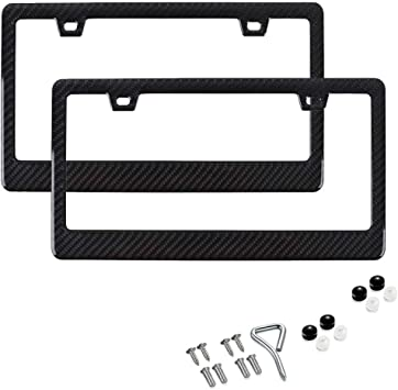 BLVD-LPF OBEY YOUR LUXURY Black Plastic Gloss Real Carbon Fiber for Auto Vehicle Truck Van License Plate Frames Wide Style Pack 1 pc
