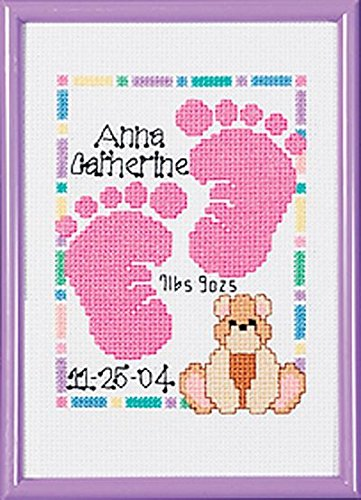 Moments Frame - Janlynn Special Moments Baby Footprints Magenta Frame 14 Count 5 by 7-Inch Counted Cross Stitch Kit, Mini