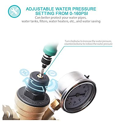 MICTUNING Water Pressure Regulator Valve Lead-Free Brass Adjustable Water Pressure Reducer with Gauge and Inlet Filter for RV 3/4 and NH Thread: Automotive
