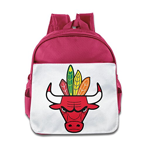 HYRONE Chicago Logo Bulls Blackhawks Kids School Bag For 1-6 Years Old Pink
