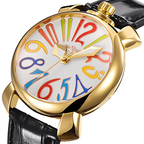 Unisex Big Colorfully Number White Dial Automatic Mechanical Watch Gold Stainless Steel Black Leather (White)