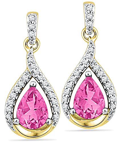 Solid 10k Yellow Gold Pear Round Pink Simulated Sapphire And White Diamond Classic Solitaire One Stone Halo Prong Set Dangle Earrings (1/5 cttw)