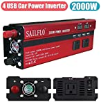 2000W Power Inverter 3 AC Outlets & 4 USB-Cigarette Lighter Adapter And Car Battery Clips- Cooling Fan,Low Battery Voltage Alarm