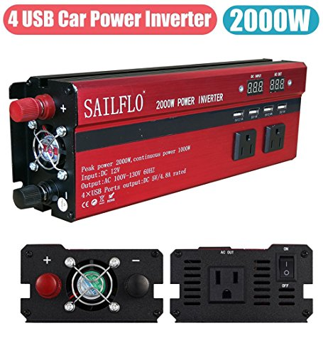 2000W Power Inverter 3 AC Outlets & 4 USB-Cigarette Lighter Adapter And Car Battery Clips- Cooling Fan,Low Battery Voltage Alarm by SAILFLO