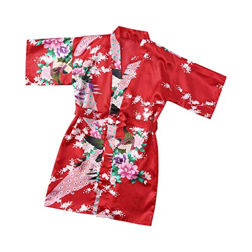 Ywoow ❤ Toddler Baby Kid Girls Floral Silk Satin Kimono Robes Bathrobe Sleepwear Clothes (18-24 Months, Red) by Ywoow (Image #7)