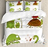 Reptiles Queen Size Duvet Cover Set by Ambesonne, Reptile Family with Colorful Baby Collection Snake Frog Ninja Turtles Love Mother, Decorative 3 Piece Bedding Set with 2 Pillow Shams, Green Brown Red